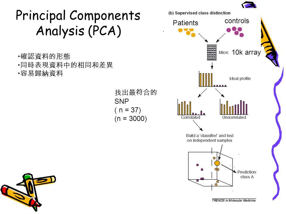 Principal Components Analysis (PCA) 10k array Patients controls 找出最符合的 SNP ( n = 37) (n = 3000) 確認資料的形態 同時表現資料中的相同和差異 容易歸納資料