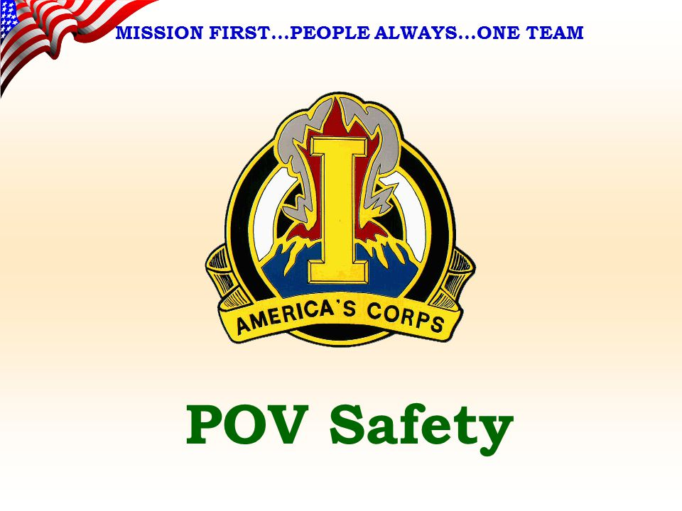 MISSION FIRST…PEOPLE ALWAYS…ONE TEAM Standards High and Unmistakable Standards Enforce Follow Educate Inspect