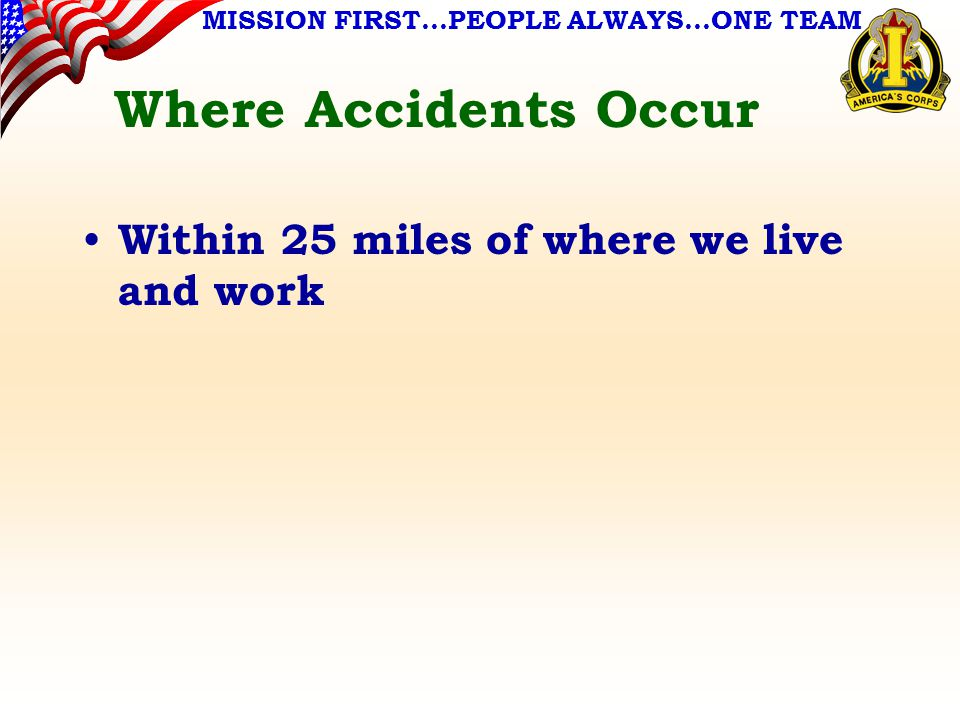 MISSION FIRST…PEOPLE ALWAYS…ONE TEAM Where Accidents Occur Within 25 miles of where we live and work