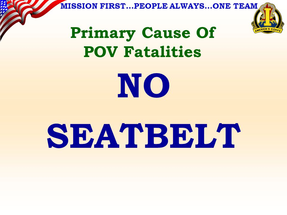 MISSION FIRST…PEOPLE ALWAYS…ONE TEAM Primary Cause Of POV Fatalities NO SEATBELT