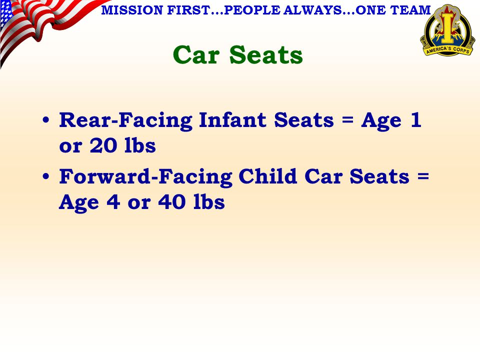 MISSION FIRST…PEOPLE ALWAYS…ONE TEAM Car Seats Rear-Facing Infant Seats = Age 1 or 20 lbs Forward-Facing Child Car Seats = Age 4 or 40 lbs
