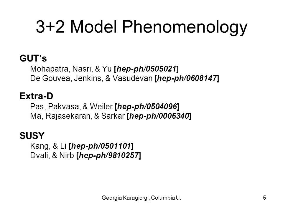 Georgia Karagiorgi, Columbia U.5 3+2 Model Phenomenology GUT's Mohapatra, Nasri, & Yu [hep-ph/0505021] De Gouvea, Jenkins, & Vasudevan [hep-ph/0608147] Extra-D Pas, Pakvasa, & Weiler [hep-ph/0504096] Ma, Rajasekaran, & Sarkar [hep-ph/0006340] SUSY Kang, & Li [hep-ph/0501101] Dvali, & Nirb [hep-ph/9810257]