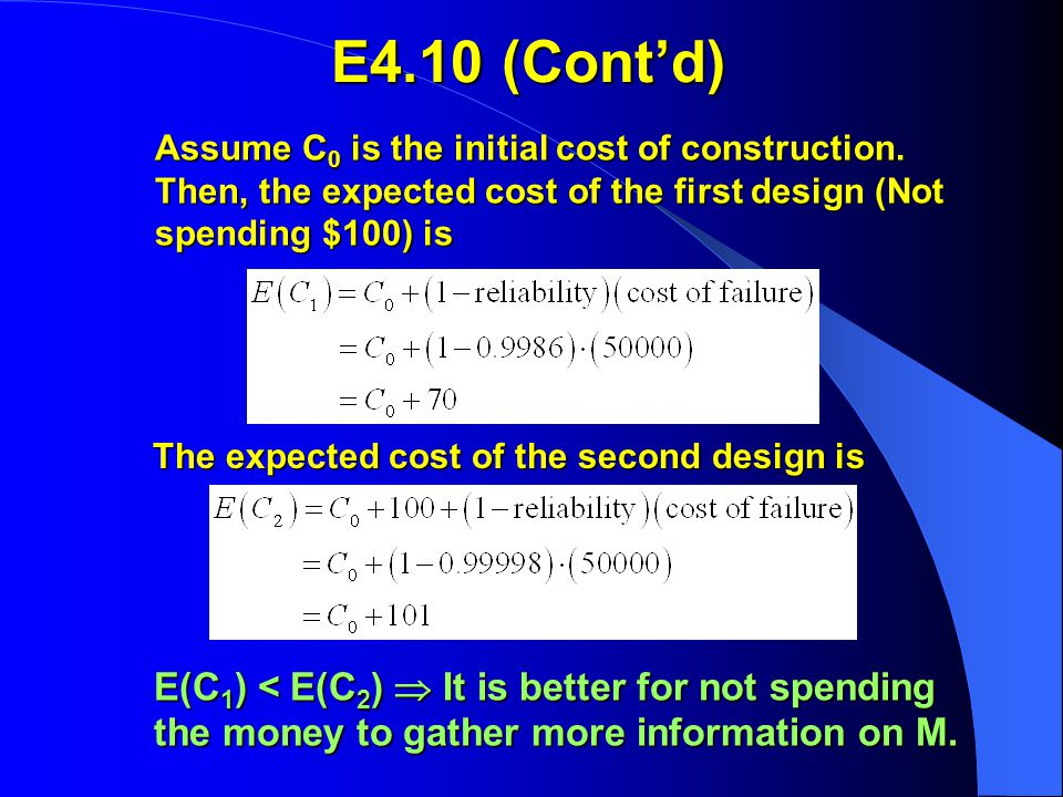 Assume C 0 is the initial cost of construction.