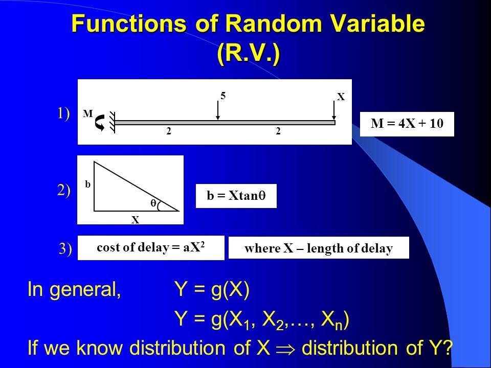 Functions of Random Variable (R.V.) In general, Y = g(X) Y = g(X 1, X 2,…, X n ) If we know distribution of X  distribution of Y.