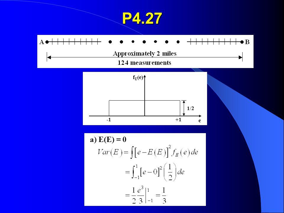 P4.27 f E (e) 0+1 1/2 e (a) E(E) = 0