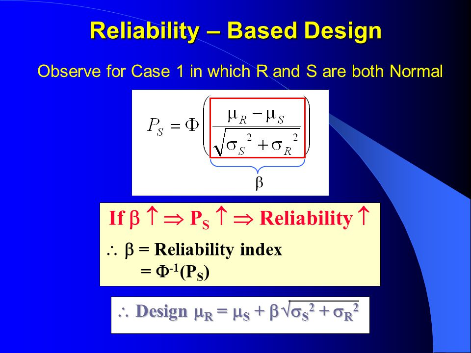 Reliability – Based Design Observe for Case 1 in which R and S are both Normal If    P S   Reliability    = Reliability index =  -1 (P S )  Design  R =  S +  S 2 +  R 2 
