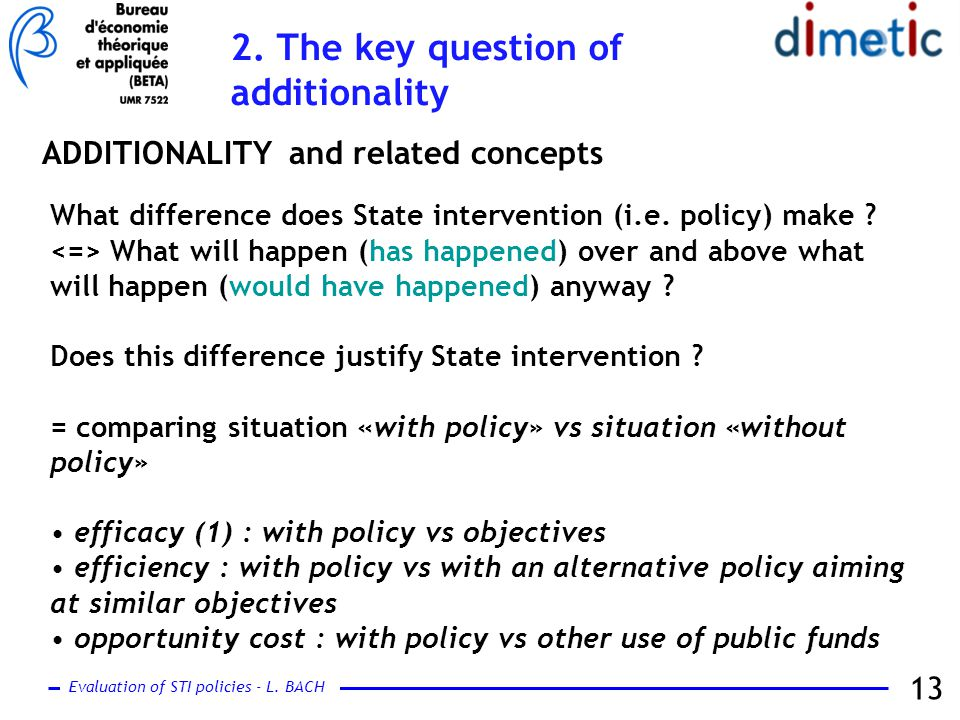 Evaluation of STI policies - L. BACH 13 ADDITIONALITY and related concepts What difference does State intervention (i.e. policy) make ? What will happ