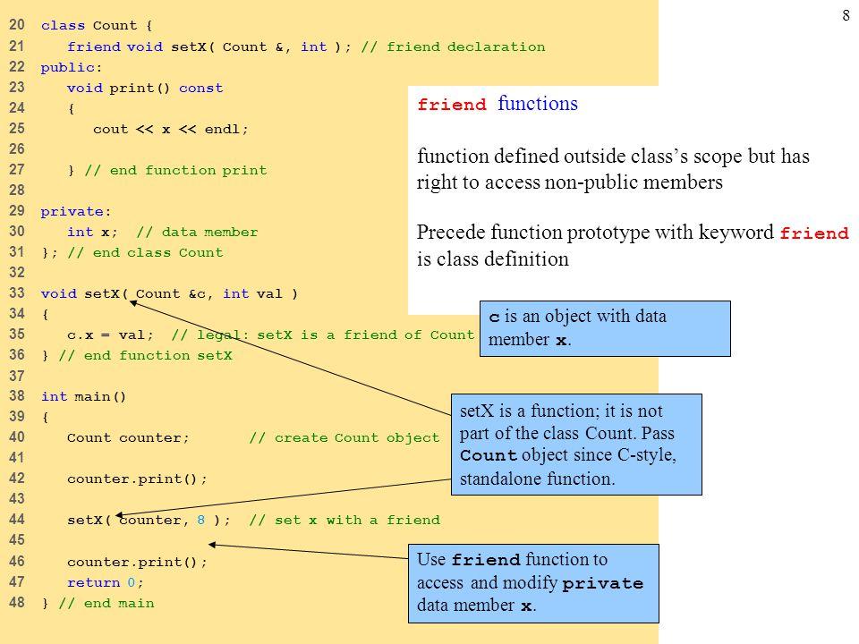 8 20 class Count { 21 friend void setX( Count &, int ); // friend declaration 22 public: 23 void print() const 24 { 25 cout << x << endl; 26 27 } // e