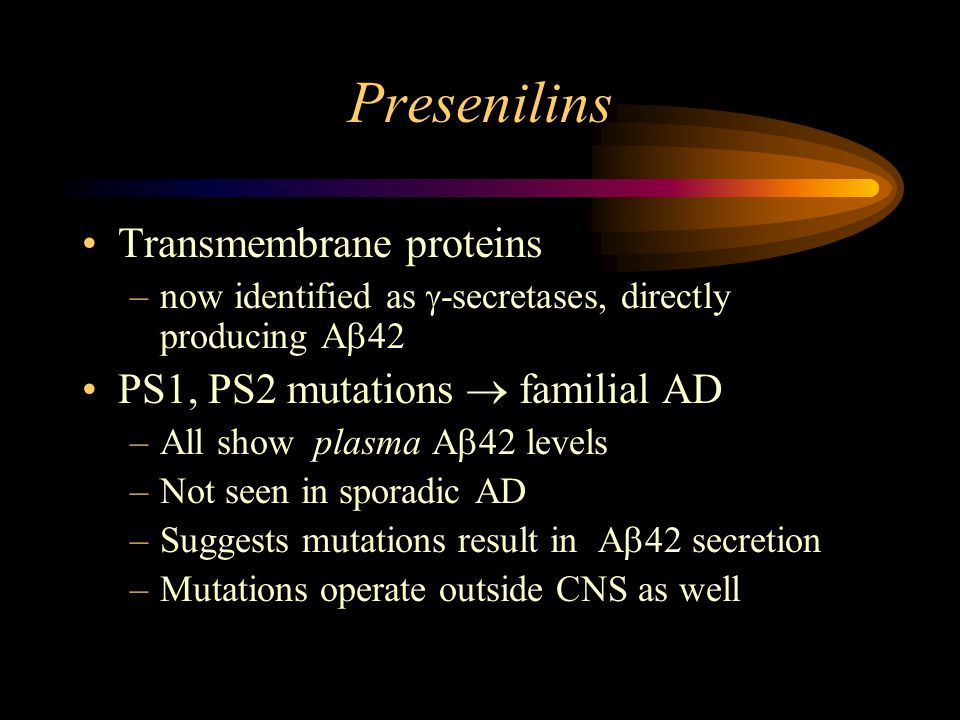 Presenilins Transmembrane proteins –now identified as  -secretases, directly producing A  42 PS1, PS2 mutations  familial AD –All show  plasma A  42 levels –Not seen in sporadic AD –Suggests mutations result in  A  42 secretion –Mutations operate outside CNS as well