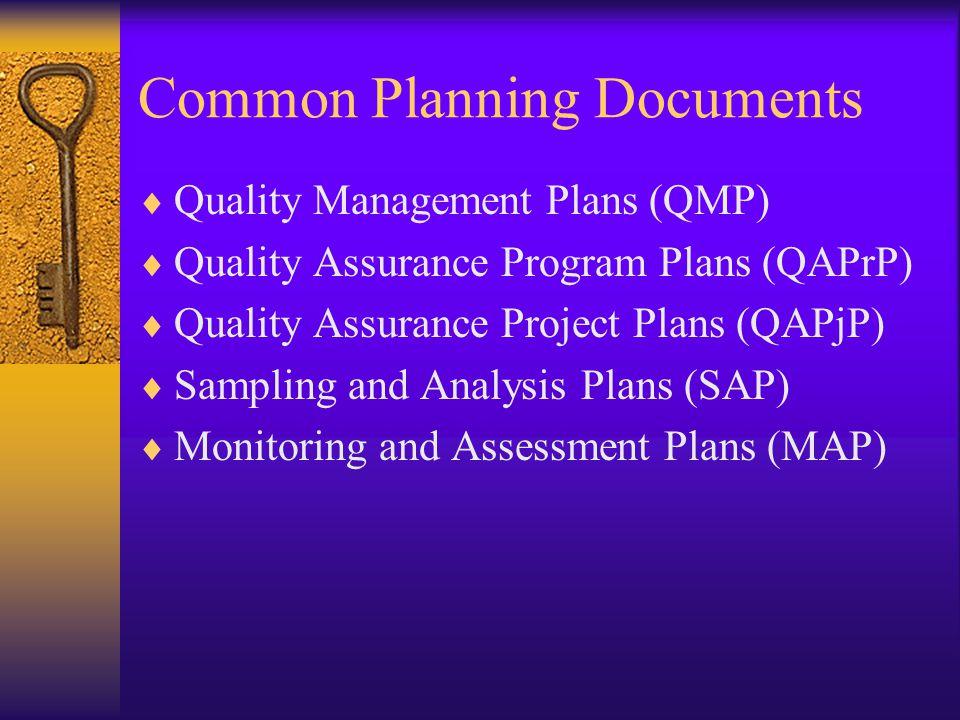 Common Planning Documents  Quality Management Plans (QMP)  Quality Assurance Program Plans (QAPrP)  Quality Assurance Project Plans (QAPjP)  Sampl