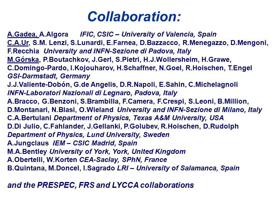 A.Gadea, A.Algora IFIC, CSIC – University of Valencia, Spain C.A.Ur, S.M. Lenzi, S.Lunardi, E.Farnea, D.Bazzacco, R.Menegazzo, D.Mengoni, F.Recchia Un