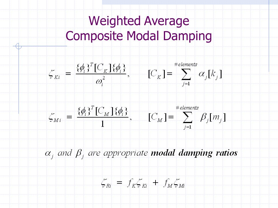 General Composite Modal Damping $* ** $* ** Compute modal damping ratios assuming $* ** classical proportional damping $* ** COMPUTE MODAL DAMPING RATIOS PROPORTIONAL INCLUDE COUPLING ALL $* ** $* ** Mode superposition transient analysis $* ** UNITS INCHES CYCLES TRANSIENT LOAD TH1 SUPPORT ACCELERATION TRANSLATION X FILE ELCENTRO INTEGRATE FROM 0.0 TO 10.0 AT 0.01 END PERFORM TRANSIENT ANALYSIS LIST TRANSIENT MAX DISPL JOINT 16 DYNAMIC ANALYSIS PHYSICAL NEWMARK BETA 0.25 LIST TRANS MAX DISPL JOINT 16 General Composite modal damping, CTX = 1.e7 lb General Composite modal damping, CTX = 100 lb General Composite modal damping, No CTX