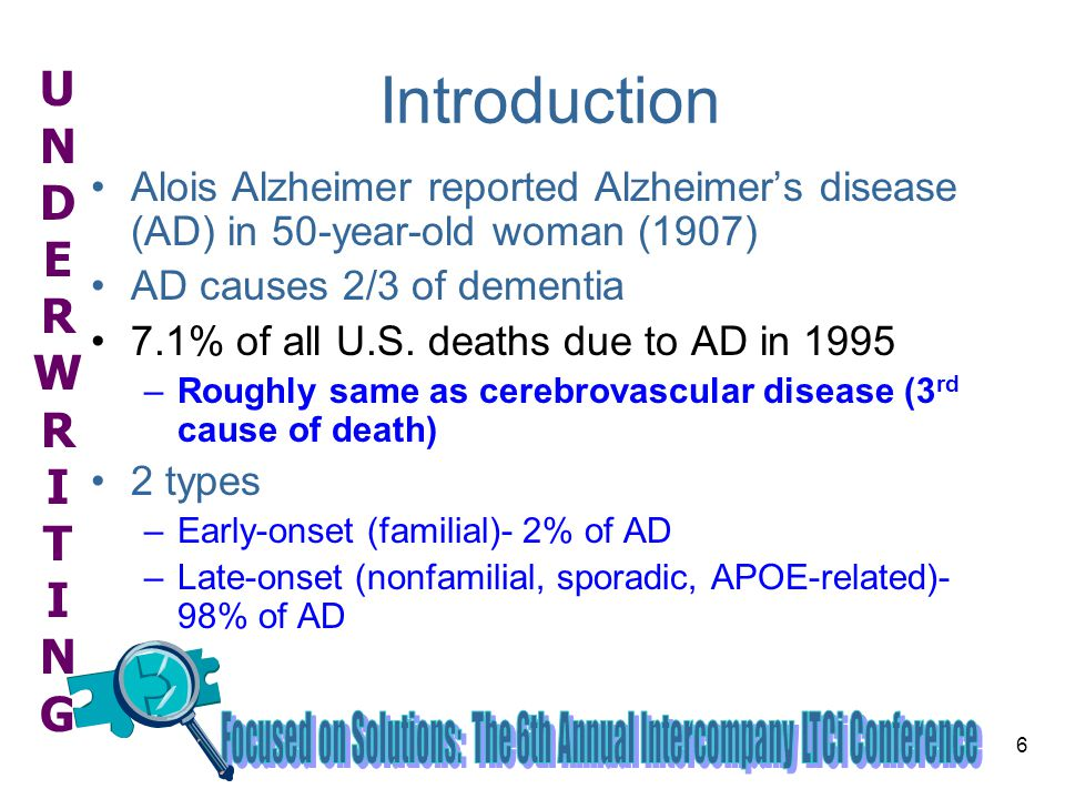 UNDERWRITINGUNDERWRITING 17 REVEAL: (Risk Evaluation and Education for Alzheimer's Disease) Study Randomized controlled trial to evaluate impact of genetic education (learning APOE genotype) on 148 adult children of AD patients Control group (46 subjects)- Told of AD risk based on age / gender / family history Intervention group (102 subjects)- Told of AD risk based on age / gender / family history / APOE genotype