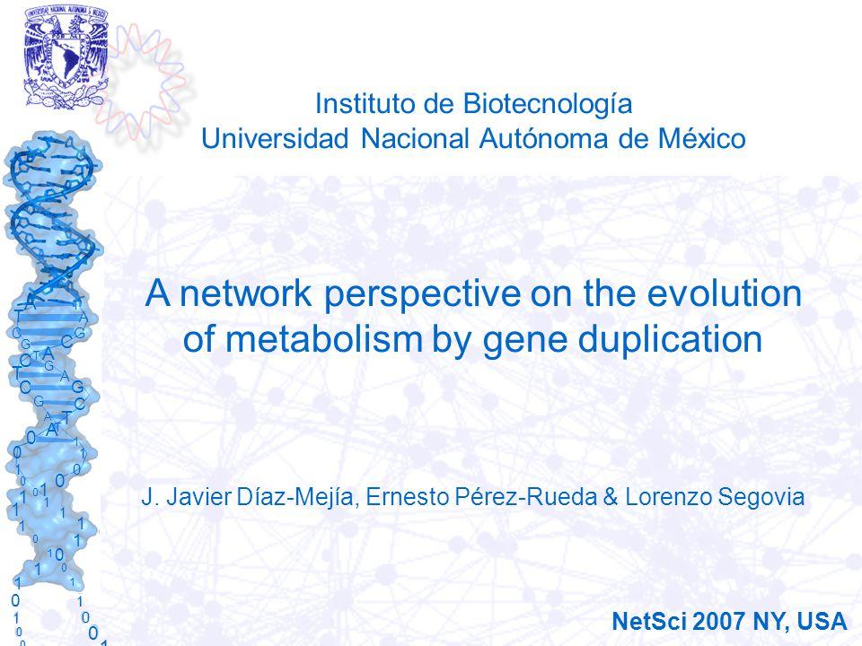 A T C G T A G C A T C G A G C T C G T A A T 1 0 0 0 1 0 1 1 0 0 1 0 1 1 1 1 1 1 0 1 1 0 1 1 0 1 0 1 0 0 1 0 1 1 1 1 Instituto de Biotecnología Universidad Nacional Autónoma de México A network perspective on the evolution of metabolism by gene duplication J.