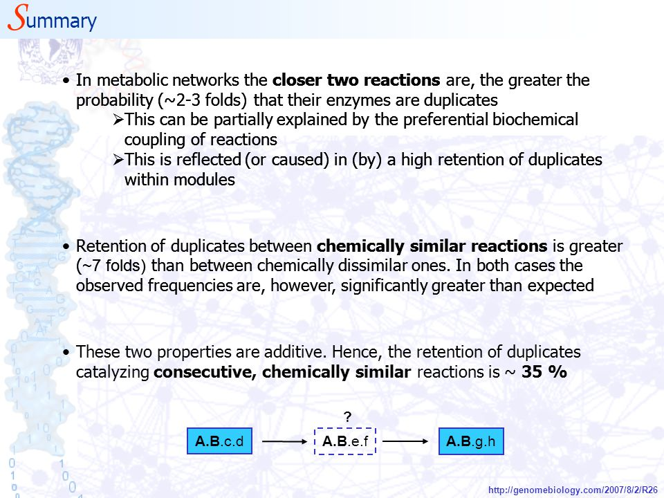S ummary http://genomebiology.com/2007/8/2/R26 In metabolic networks the closer two reactions are, the greater the probability (~2-3 folds) that their enzymes are duplicates  This can be partially explained by the preferential biochemical coupling of reactions  This is reflected (or caused) in (by) a high retention of duplicates within modules Retention of duplicates between chemically similar reactions is greater ( ~7 folds) than between chemically dissimilar ones.