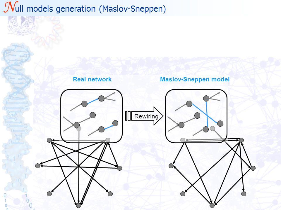 N ull models generation (Maslov-Sneppen) Real networkMaslov-Sneppen model Rewiring