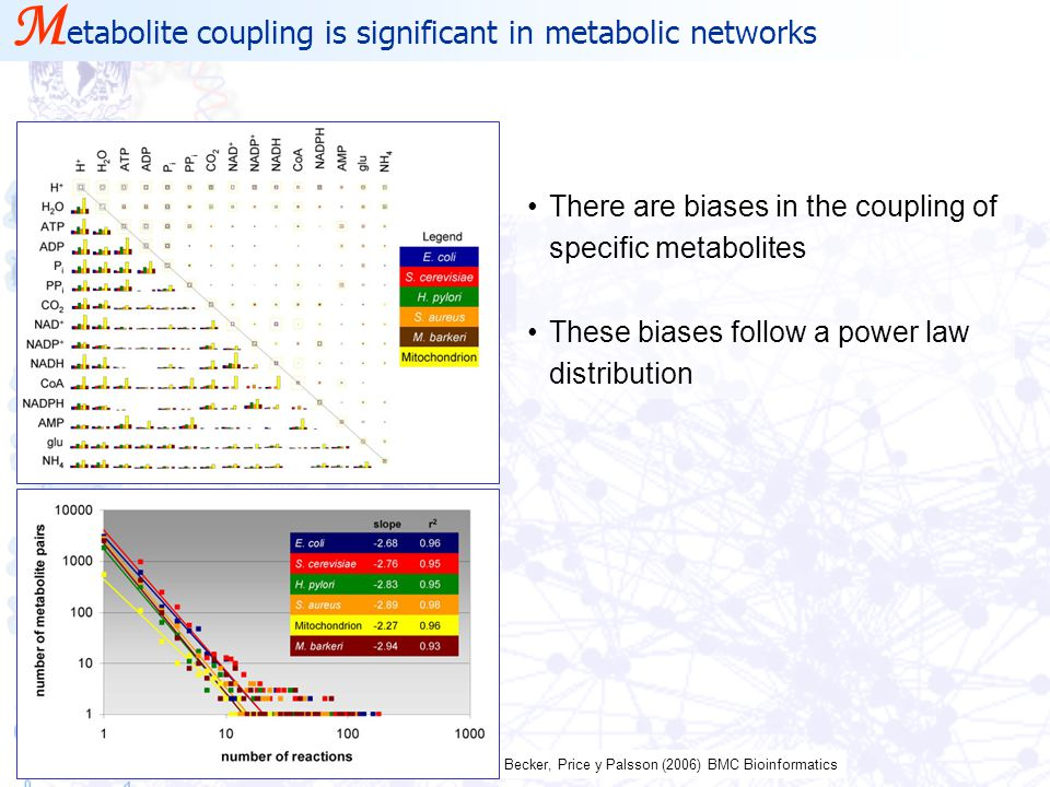 Becker, Price y Palsson (2006) BMC Bioinformatics There are biases in the coupling of specific metabolites These biases follow a power law distributio