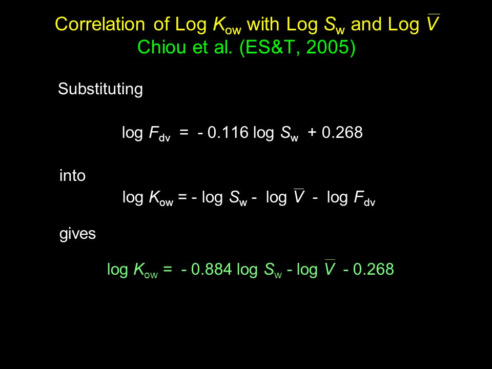 Correlation of Log K ow with Log S w and Log V Chiou et al.