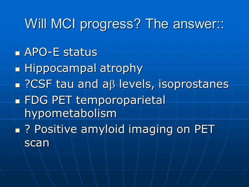 Will MCI progress.