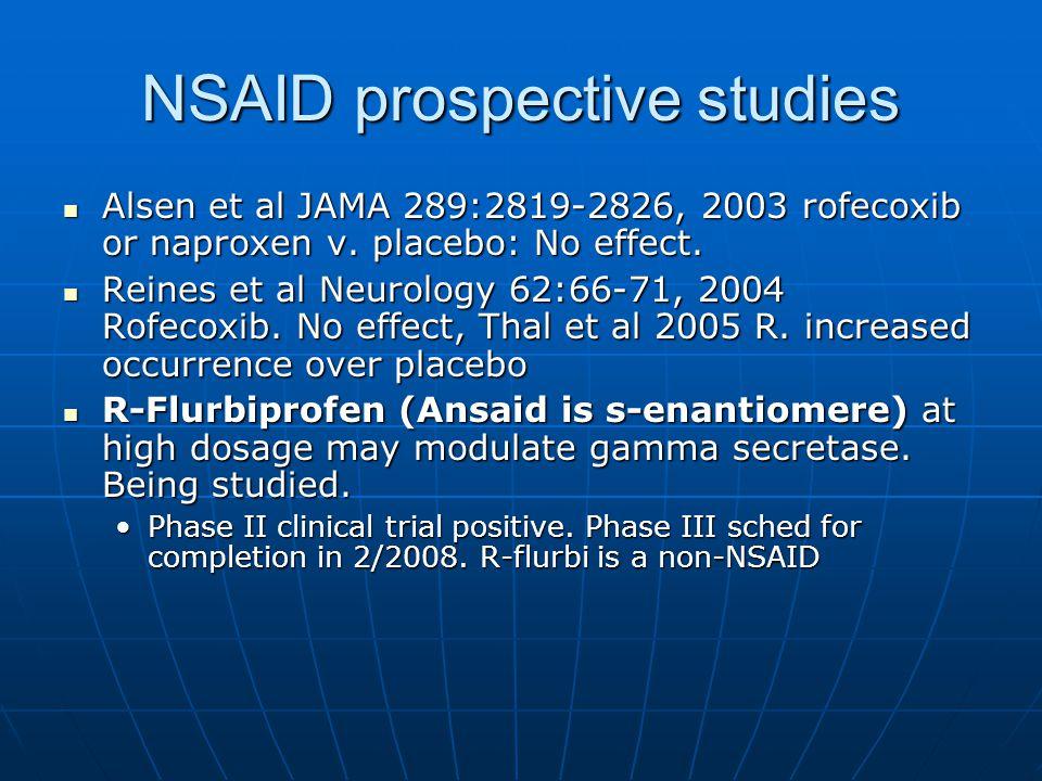 NSAID prospective studies Alsen et al JAMA 289:2819-2826, 2003 rofecoxib or naproxen v.