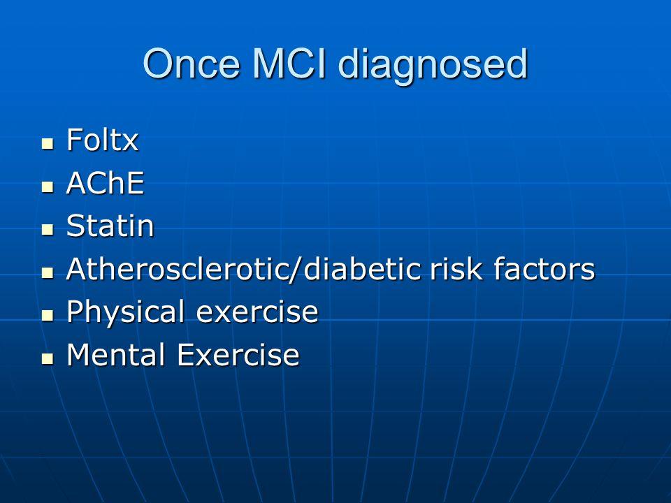 Once MCI diagnosed Foltx Foltx AChE AChE Statin Statin Atherosclerotic/diabetic risk factors Atherosclerotic/diabetic risk factors Physical exercise Physical exercise Mental Exercise Mental Exercise