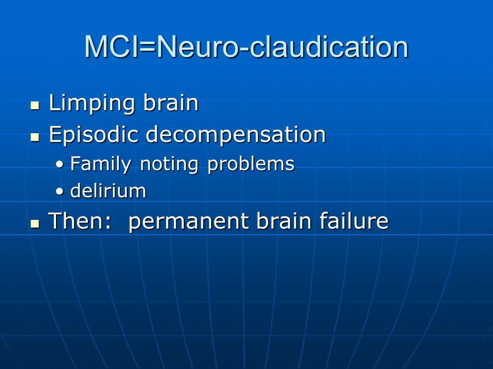MCI=Neuro-claudication Limping brain Limping brain Episodic decompensation Episodic decompensation Family noting problemsFamily noting problems deliriumdelirium Then: permanent brain failure Then: permanent brain failure