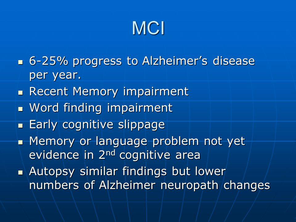 MCI 6-25% progress to Alzheimer's disease per year.