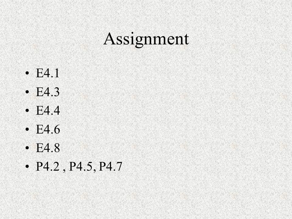 Assignment E4.1 E4.3 E4.4 E4.6 E4.8 P4.2, P4.5, P4.7