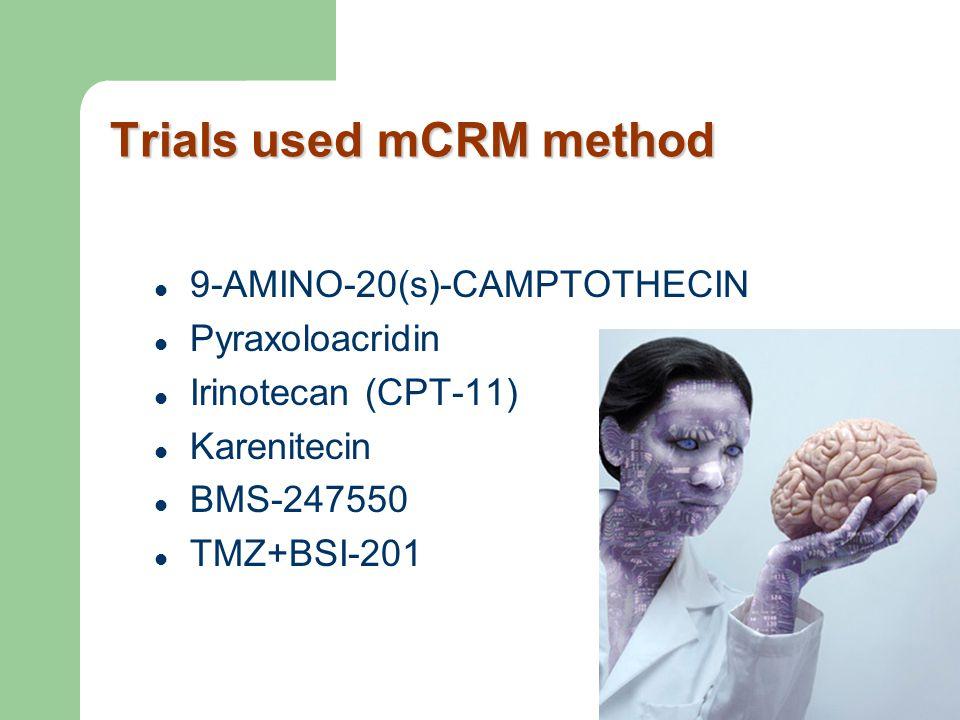 Trials used mCRM method 9-AMINO-20(s)-CAMPTOTHECIN Pyraxoloacridin Irinotecan (CPT-11) Karenitecin BMS-247550 TMZ+BSI-201