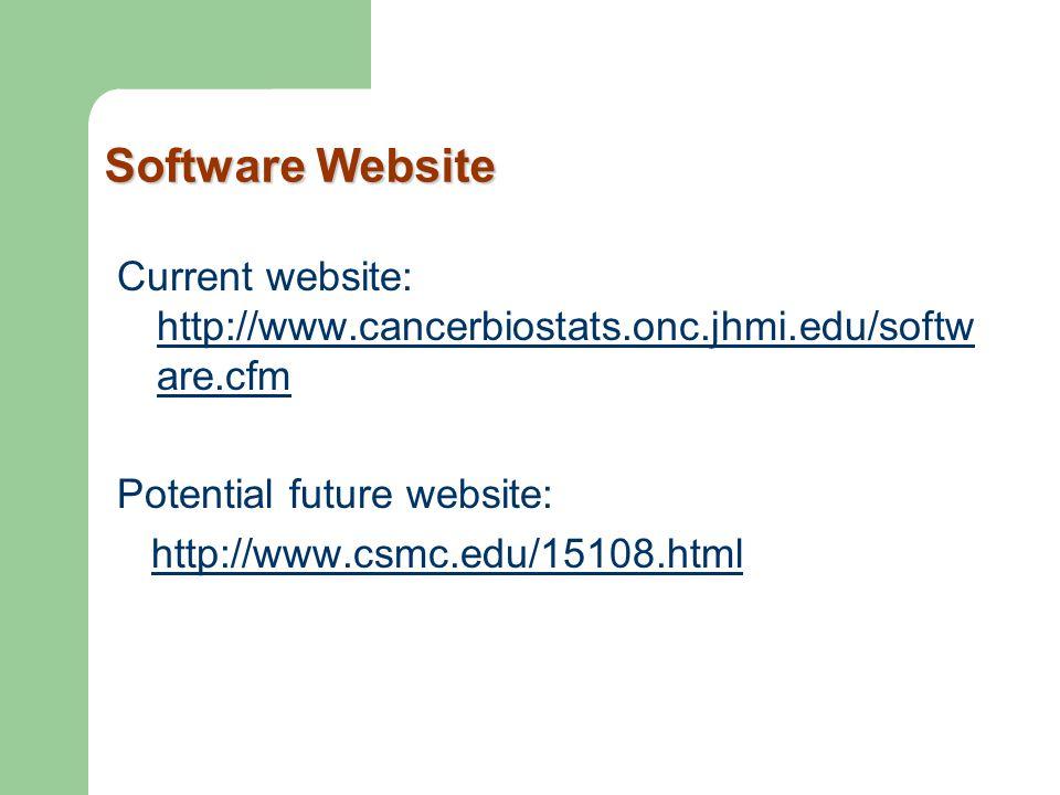 Software Website Current website: http://www.cancerbiostats.onc.jhmi.edu/softw are.cfm http://www.cancerbiostats.onc.jhmi.edu/softw are.cfm Potential
