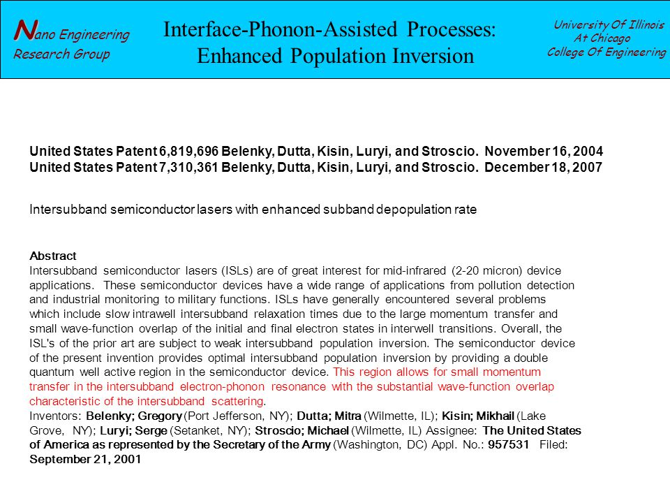 N N ano Engineering Research Group University Of Illinois At Chicago College Of Engineering Interface-Phonon-Assisted Processes: Enhanced Population Inversion United States Patent 6,819,696 Belenky, Dutta, Kisin, Luryi, and Stroscio.