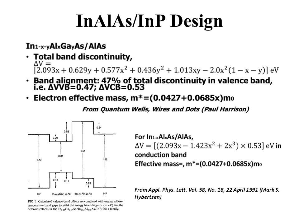 InAlAs/InP Design From Appl. Phys. Lett. Vol. 58, No. 18, 22 April 1991 (Mark S. Hybertsen)