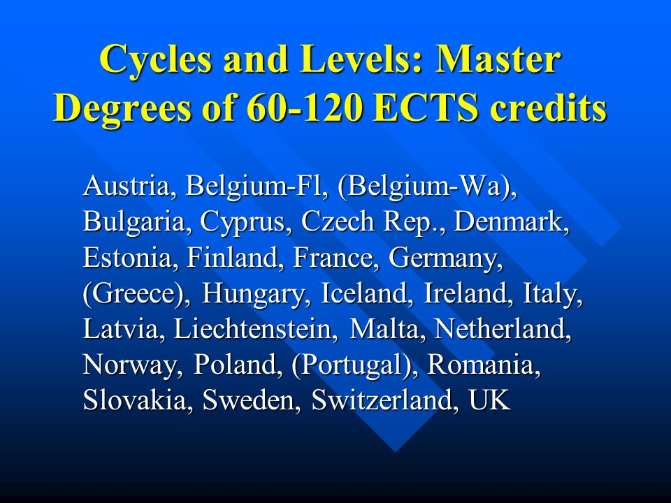 Cycles and Levels: Master Degrees of 60-120 ECTS credits Austria, Belgium-Fl, (Belgium-Wa), Bulgaria, Cyprus, Czech Rep., Denmark, Estonia, Finland, F