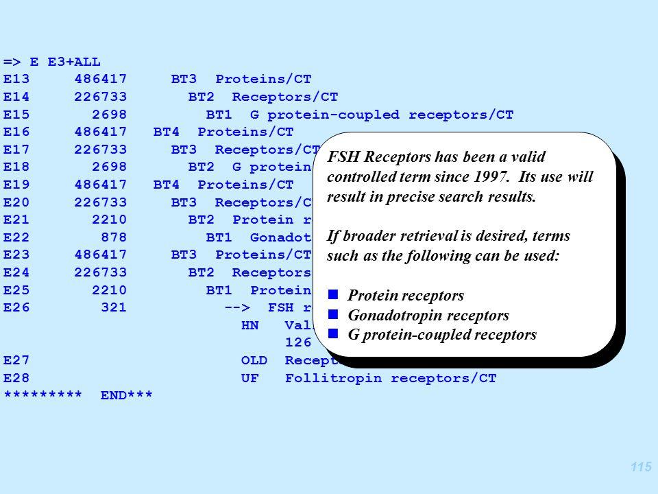 115 => E E3+ALL E13 486417 BT3 Proteins/CT E14 226733 BT2 Receptors/CT E15 2698 BT1 G protein-coupled receptors/CT E16 486417 BT4 Proteins/CT E17 226733 BT3 Receptors/CT E18 2698 BT2 G protein-coupled receptors/CT E19 486417 BT4 Proteins/CT E20 226733 BT3 Receptors/CT E21 2210 BT2 Protein receptors/CT E22 878 BT1 Gonadotropin receptors/CT E23 486417 BT3 Proteins/CT E24 226733 BT2 Receptors/CT E25 2210 BT1 Protein receptors/CT E26 321 --> FSH receptors/CT HN Valid heading during volume 126 (1997) to present.
