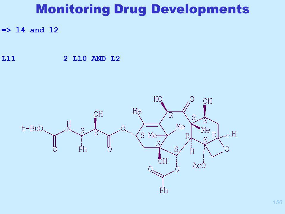 150 Monitoring Drug Developments => l4 and l2 L11 2 L10 AND L2