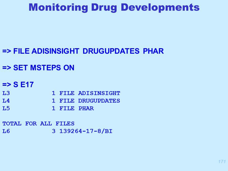 171 => FILE ADISINSIGHT DRUGUPDATES PHAR => SET MSTEPS ON => S E17 L3 1 FILE ADISINSIGHT L4 1 FILE DRUGUPDATES L5 1 FILE PHAR TOTAL FOR ALL FILES L6 3 139264-17-8/BI Monitoring Drug Developments