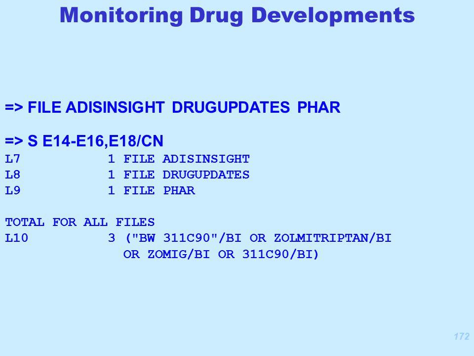 172 => FILE ADISINSIGHT DRUGUPDATES PHAR => S E14-E16,E18/CN L7 1 FILE ADISINSIGHT L8 1 FILE DRUGUPDATES L9 1 FILE PHAR TOTAL FOR ALL FILES L10 3 ( BW 311C90 /BI OR ZOLMITRIPTAN/BI OR ZOMIG/BI OR 311C90/BI) Monitoring Drug Developments