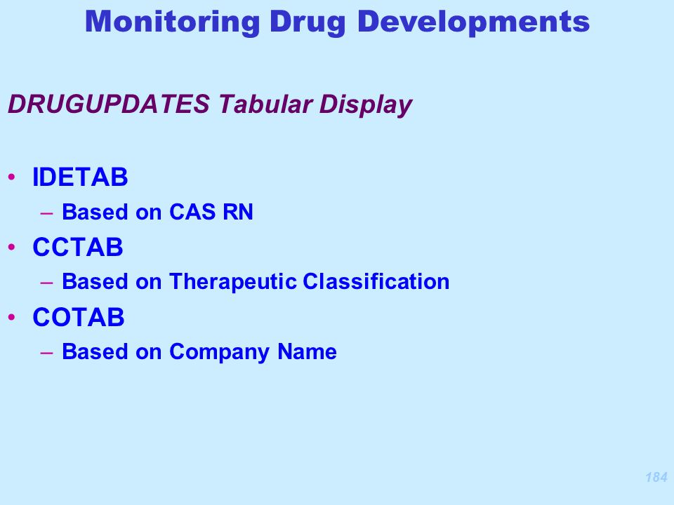 184 IDETAB –Based on CAS RN CCTAB –Based on Therapeutic Classification COTAB –Based on Company Name DRUGUPDATES Tabular Display Monitoring Drug Developments