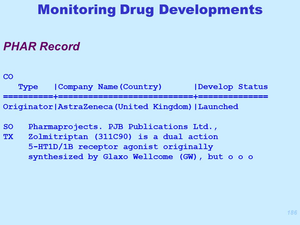 186 CO Type |Company Name(Country) |Develop Status ==========+===========================+============== Originator|AstraZeneca(United Kingdom)|Launched SO Pharmaprojects.
