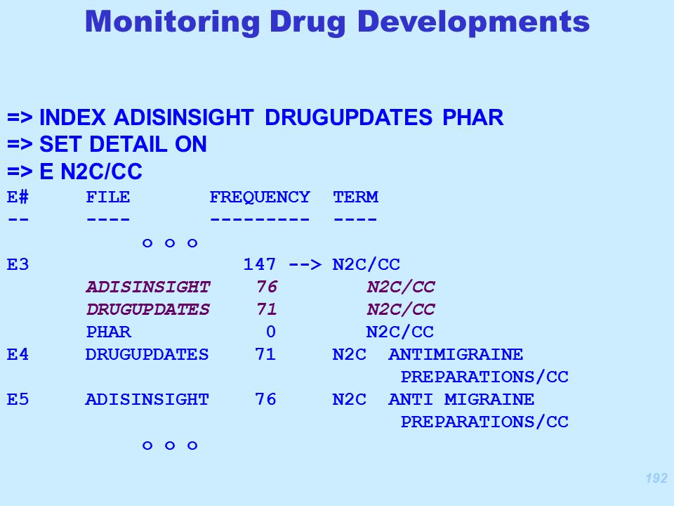192 => INDEX ADISINSIGHT DRUGUPDATES PHAR => SET DETAIL ON => E N2C/CC E# FILE FREQUENCY TERM -- ---- --------- ---- o o o E3 147 --> N2C/CC ADISINSIGHT 76 N2C/CC DRUGUPDATES 71 N2C/CC PHAR 0 N2C/CC E4 DRUGUPDATES 71 N2C ANTIMIGRAINE PREPARATIONS/CC E5 ADISINSIGHT 76 N2C ANTI MIGRAINE PREPARATIONS/CC o o o Monitoring Drug Developments