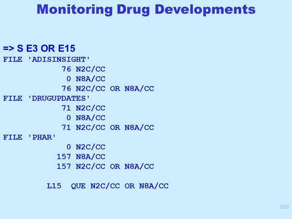 195 => S E3 OR E15 FILE ADISINSIGHT 76 N2C/CC 0 N8A/CC 76 N2C/CC OR N8A/CC FILE DRUGUPDATES 71 N2C/CC 0 N8A/CC 71 N2C/CC OR N8A/CC FILE PHAR 0 N2C/CC 157 N8A/CC 157 N2C/CC OR N8A/CC L15 QUE N2C/CC OR N8A/CC Monitoring Drug Developments