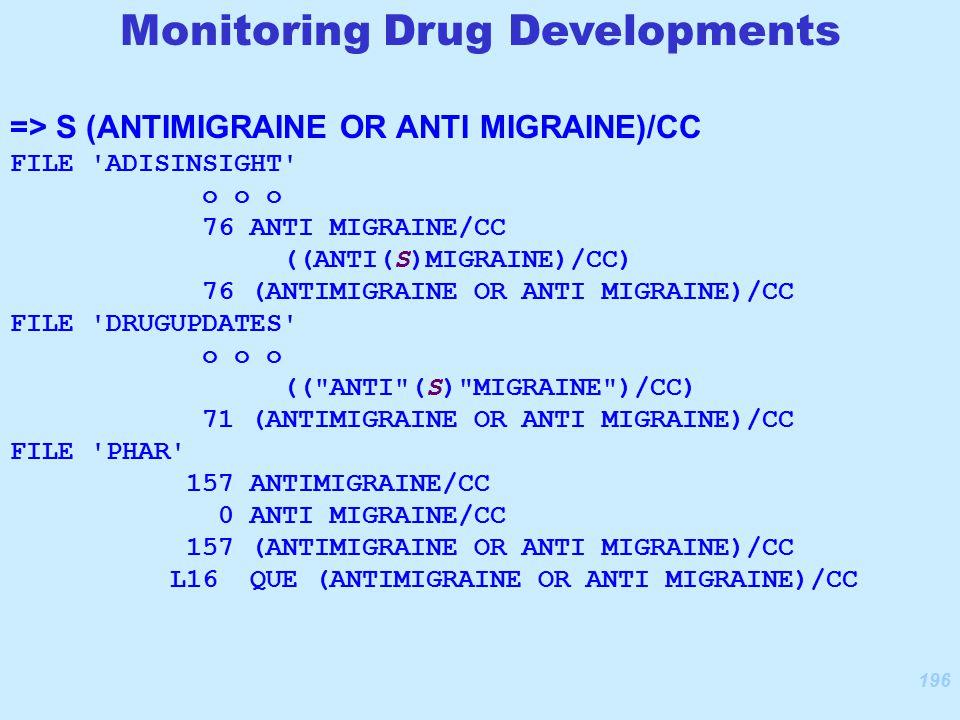 196 => S (ANTIMIGRAINE OR ANTI MIGRAINE)/CC FILE ADISINSIGHT o o o 76 ANTI MIGRAINE/CC ((ANTI(S)MIGRAINE)/CC) 76 (ANTIMIGRAINE OR ANTI MIGRAINE)/CC FILE DRUGUPDATES o o o (( ANTI (S) MIGRAINE )/CC) 71 (ANTIMIGRAINE OR ANTI MIGRAINE)/CC FILE PHAR 157 ANTIMIGRAINE/CC 0 ANTI MIGRAINE/CC 157 (ANTIMIGRAINE OR ANTI MIGRAINE)/CC L16 QUE (ANTIMIGRAINE OR ANTI MIGRAINE)/CC Monitoring Drug Developments