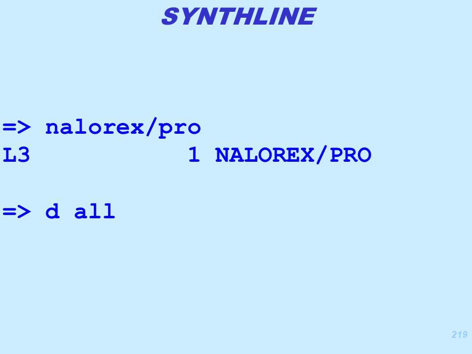 219 => nalorex/pro L3 1 NALOREX/PRO => d all SYNTHLINE