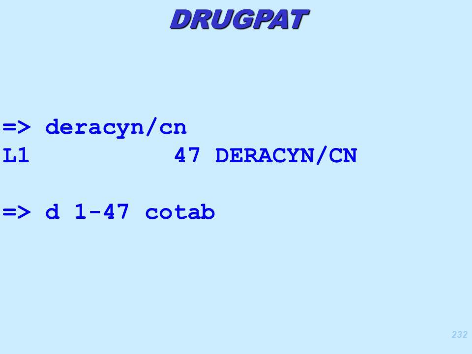 232 => deracyn/cn L1 47 DERACYN/CN => d 1-47 cotab DRUGPAT