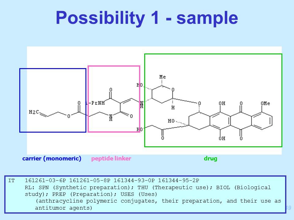 249 Possibility 1 - sample carrier (monomeric)peptide linkerdrug IT 161261-03-6P 161261-05-8P 161344-93-0P 161344-95-2P RL: SPN (Synthetic preparation); THU (Therapeutic use); BIOL (Biological study); PREP (Preparation); USES (Uses) (anthracycline polymeric conjugates, their preparation, and their use as antitumor agents)