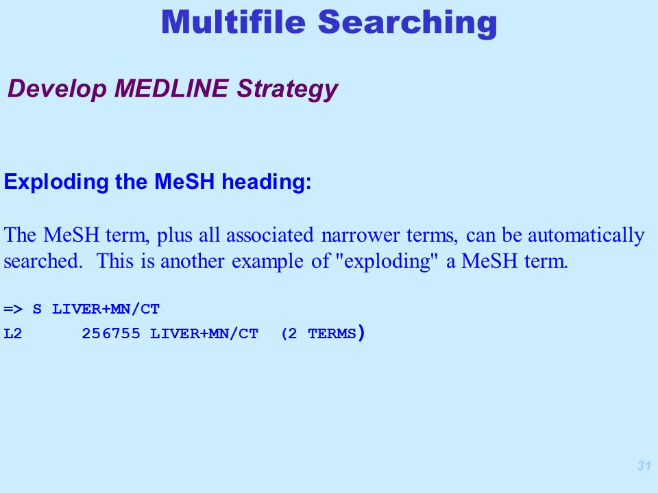 31 Exploding the MeSH heading: The MeSH term, plus all associated narrower terms, can be automatically searched.