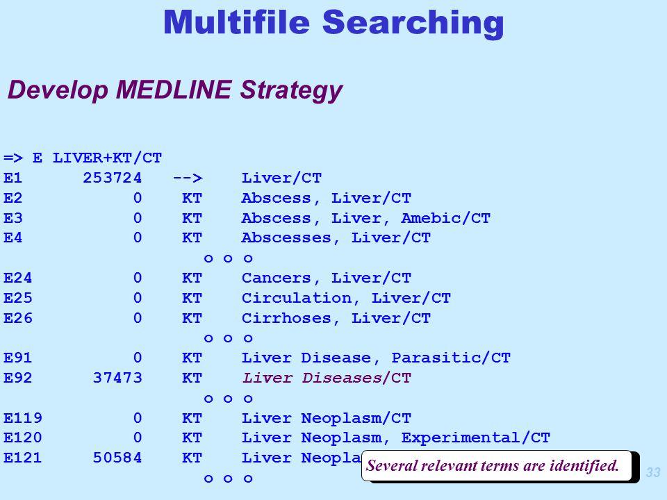33 => E LIVER+KT/CT E1 253724 --> Liver/CT E2 0 KT Abscess, Liver/CT E3 0 KT Abscess, Liver, Amebic/CT E4 0 KT Abscesses, Liver/CT o o o E24 0 KT Cancers, Liver/CT E25 0 KT Circulation, Liver/CT E26 0 KT Cirrhoses, Liver/CT o o o E91 0 KT Liver Disease, Parasitic/CT E92 37473 KT Liver Diseases/CT o o o E119 0 KT Liver Neoplasm/CT E120 0 KT Liver Neoplasm, Experimental/CT E121 50584 KT Liver Neoplasms/CT o o o Several relevant terms are identified.
