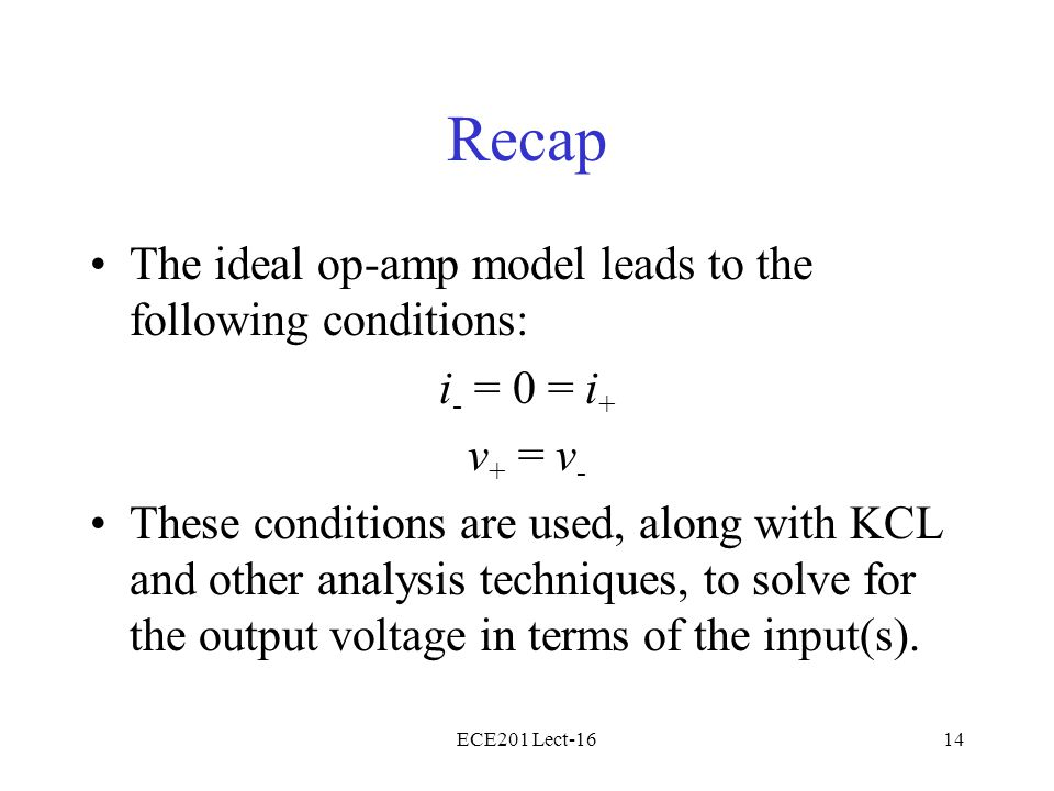 ECE201 Lect-1614 Recap The ideal op-amp model leads to the following conditions: i - = 0 = i + v + = v - These conditions are used, along with KCL and