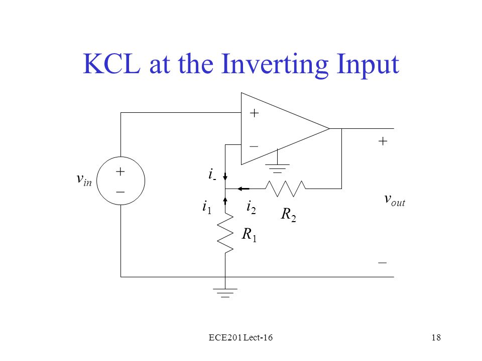 ECE201 Lect-1618 KCL at the Inverting Input + – v in + – v out R1R1 R2R2 i-i- i1i1 i2i2 +–+–