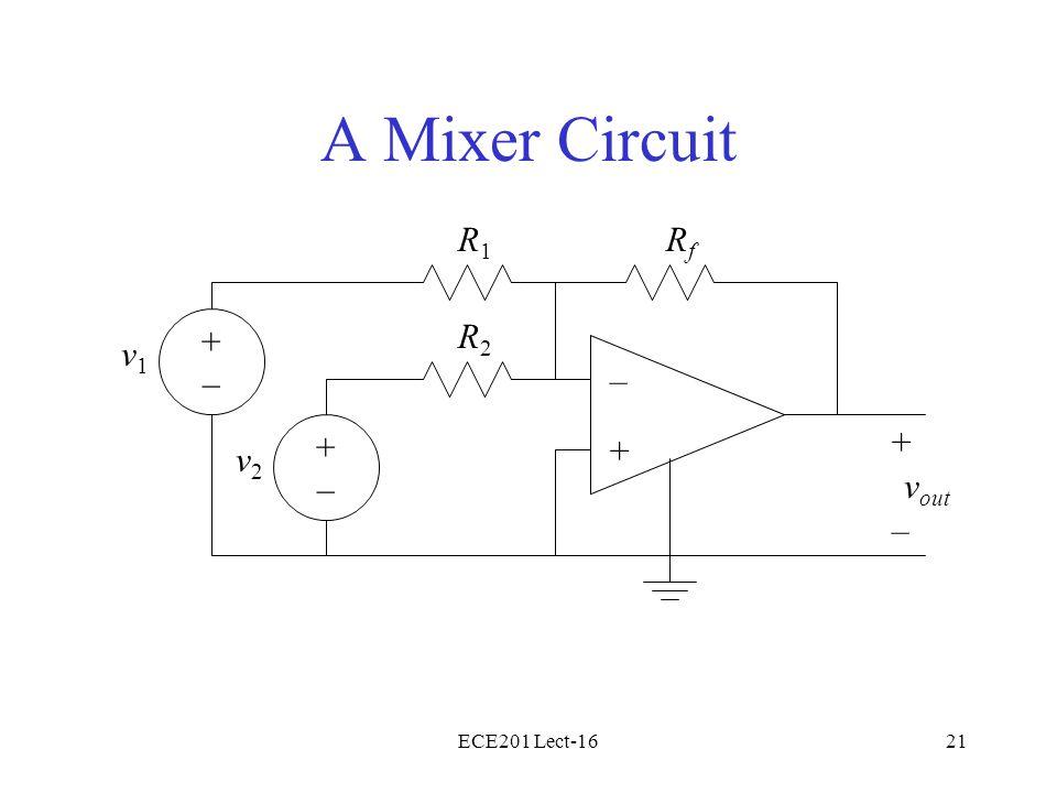 ECE201 Lect-1621 A Mixer Circuit – + v2v2 + – v out R2R2 RfRf R1R1 v1v1 +–+– +–+–